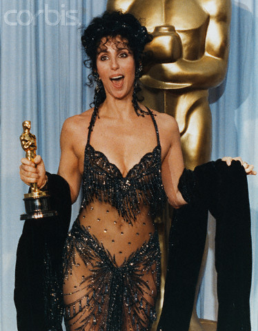 Actress Cher Reacting to Oscar Win