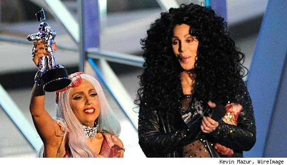 cherladygaga Cher presents award to Lady Gaga at 2010 VMA Awards