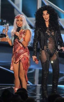 cherladygaga4 Cher presents award to Lady Gaga at 2010 VMA Awards