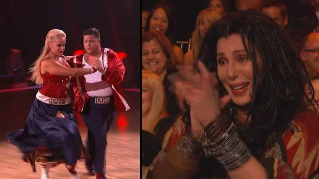 cherdancingwithstars Cher cheers Chaz on Dancing with the Stars